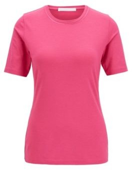 HUGO BOSS Crew-neck T-shirt in stretch fabric with embroidered details