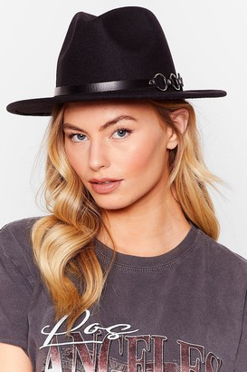 Nasty Gal Womens We Don't Know a Ring Faux Wool Fedora Hat - Black