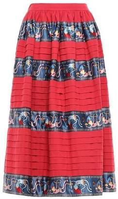 Stella Jean Gathered Satin-trimmed Cotton-canvas Midi Skirt
