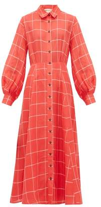 Mara Hoffman Liliana Checked Linen-blend Shirtdress - Womens - Red White