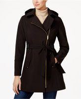 Via Spiga Hooded Water-Resistant Faux-Leather-Trim Asymmetrical Coat