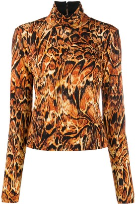 Just Cavalli Abstract Print Mock Neck Top
