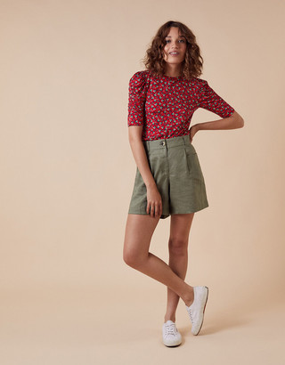Monsoon Printed Jersey Puff Sleeve Top Red