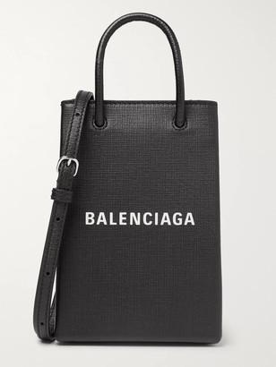 Balenciaga Logo-Print Textured-Leather Messenger Bag - Men - Black