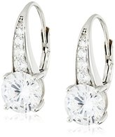 "Crislu Esteemed Elegance"" Sterling Platinum Cubic Zirconia Leverback Earrings"