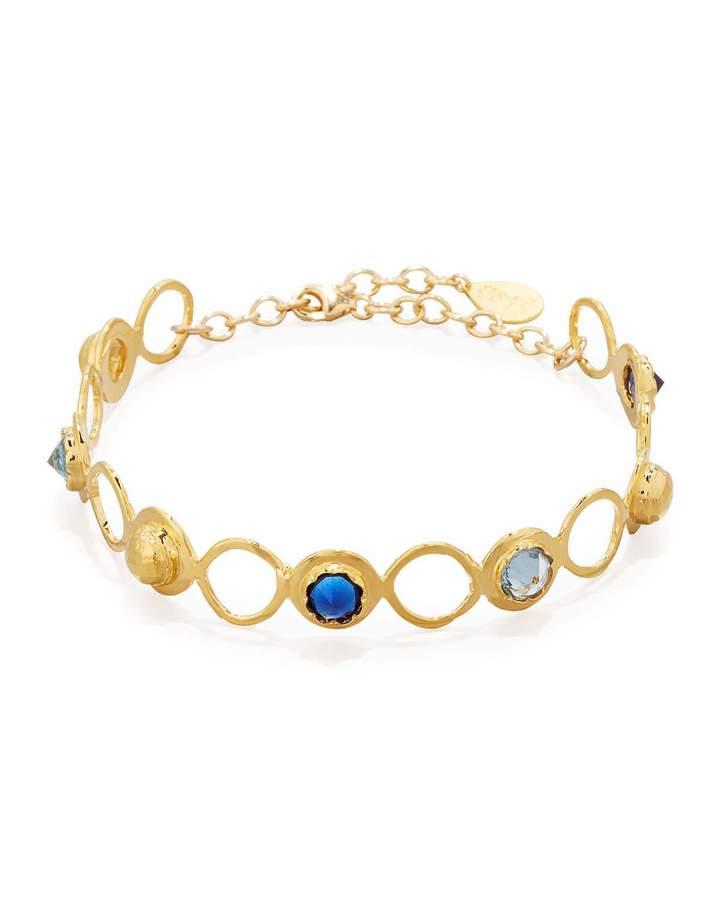 Devon Leigh Crystal Station Choker Necklace, Blue