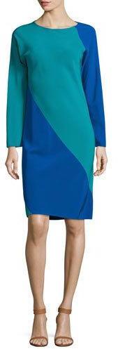 Shamask Long-Sleeve Spiral Silk Dress, Blue