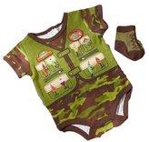 Baby Essentials BOY'S 2-PIECE CREEPER, SOCKS SET AND BONUS BEANIE - CAMO FISHERMAN