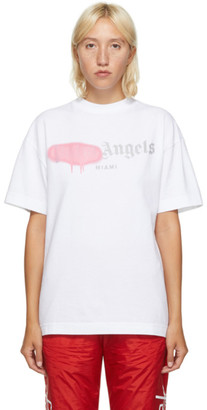 Palm Angels White and Pink Miami Logo Sprayed T-Shirt