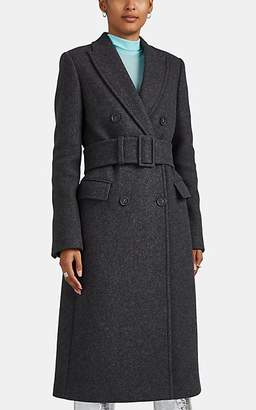 Helmut Lang Women's Belted Wool-Blend Melton Double-Breasted Topcoat - Gray