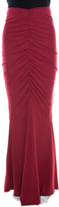 Roberto Cavalli Red Ruched Knit Mermaid Maxi Skirt L