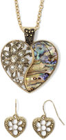JCPenney MIXIT Mixit Crystal-Accent Abalone-Look Heart Earring and Pendant Necklace Set