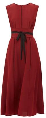 Cefinn - Tie Waist Pleated Silk Midi Dress - Womens - Burgundy