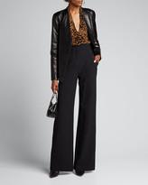 L'Agence Lydia Velvet Burnout Drape-Front Long-Sleeve Blouse