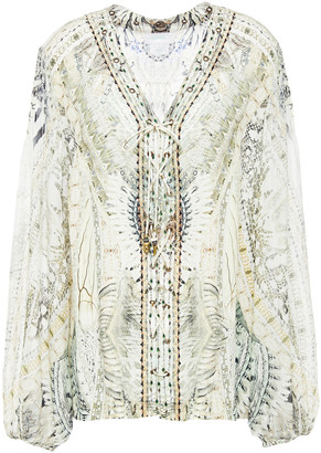 Camilla Crystal-embellished Printed Silk-chiffon And Crepe De Chine Blouse