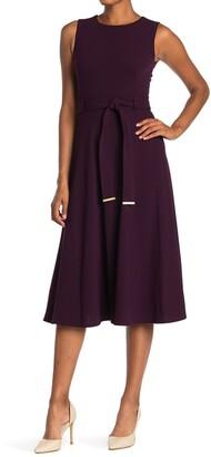 Calvin Klein Belted Sleeveless Midi Dress