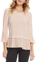 Jones New York Knit Crepe and Georgette Flounce Top