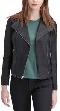 Andrew Marc Felix Leather Knit-Panel Moto Jacket