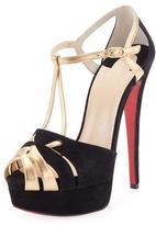 Christian Louboutin Glennalta Suede/Metallic Red Sole T-Strap Sandal