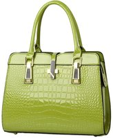 Laryana Women's Tote Croco-embossed Patent Leather Top Handle Satchel Shoulder Handbag