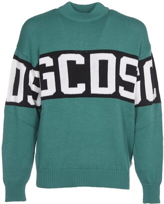GCDS Green Wool Blended Sweater With Logo