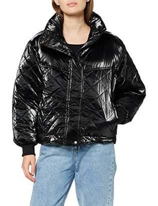 Urban Classic Women's Ladies Vanish Oversized Diamond Quilt Jacket (Black 00007), 4X-Large