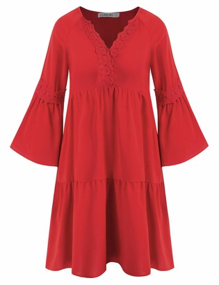 Liumilac Women 3/4 Sleeve Casual T-Shirt Dress Loose Tiered Simple Vneck Aline Dress Red