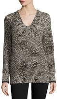 Rag & Bone V-Neck Wool-Blend Sweater, White/Black