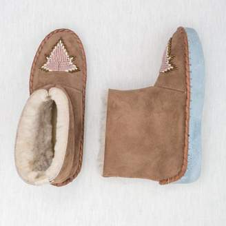 The Small Home - Beaded Sheepskin Boots Pink Opal - 37