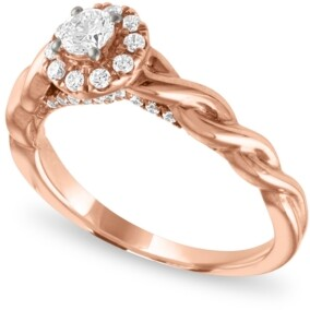 Macy's Diamond Halo Enagagement Ring (1/2 ct. t.w.) in 14k Rose Gold