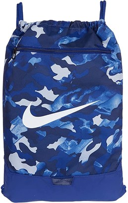 Nike Brasilia All Over Print Gym Sack - 9.0 (Deep Royal Blue/Deep Royal Blue/White) Backpack Bags