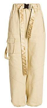 Fendi Women's Logo Belt Cotton Cargo Pants