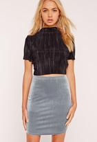 Missguided Velvet Curve Hem Mini Skirt Grey