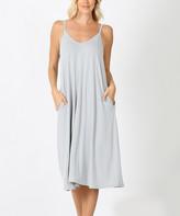 Lydiane Women's Casual Dresses LTGREY - Light Gray V-Neck Sleeveless Cami Pocket Midi Dress - Women