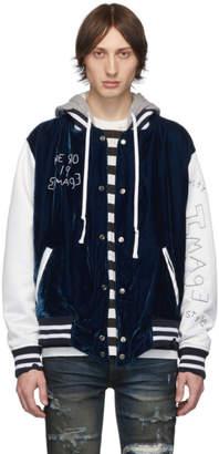 Greg Lauren Blue Velvet Varsity Bomber Jacket