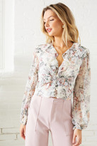 Bardot Floral Button Front Ruffle Blouse Pink Multi XS