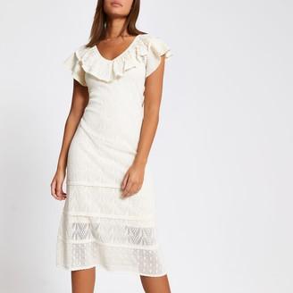 River Island Womens Cream frill pretty stitch knitted dress
