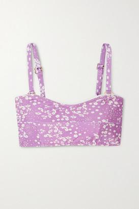 Faithfull The Brand Bonnieux Floral-print Bandeau Bikini Top - Lavender