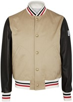 Moncler Gamme Bleu Sand Canvas And Leather Bomber Jacket
