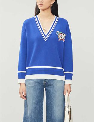 Sandro Stripe-trim V-neck knitted jumper