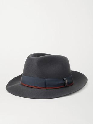 Borsalino Grosgrain-Trimmed Cashmere Fedora - Men - Gray