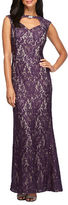 Alex Evenings Cap Sleeve Embellieshed Floral Lace A-Line Gown