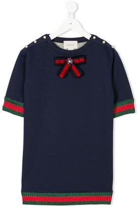 Gucci Kids round neck embellished top