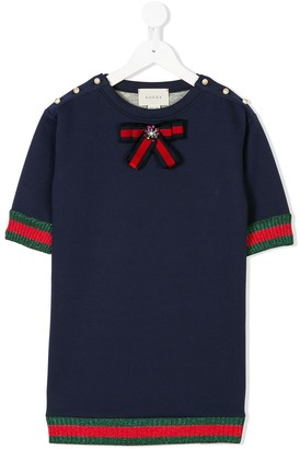 Gucci Kids Web-trim embellished top