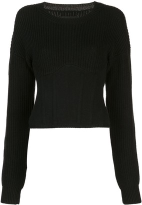 RtA Fitted Corset Cropped Sweater