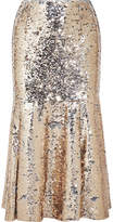 Emilia Wickstead Le-roy Sequined Tulle Midi Skirt - Silver