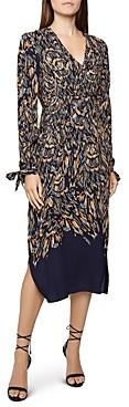 Reiss Erin Abstract Feather Midi Dress