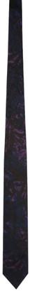 Dries Van Noten Black and Purple Graphic Silk Tie
