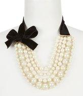 Kate Spade Girls in Pearls Velvet Bow Multi-Strand Statement Necklace