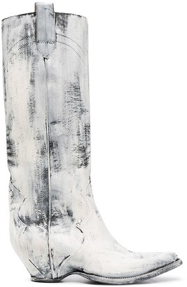 Maison Margiela paint-effect Western boots